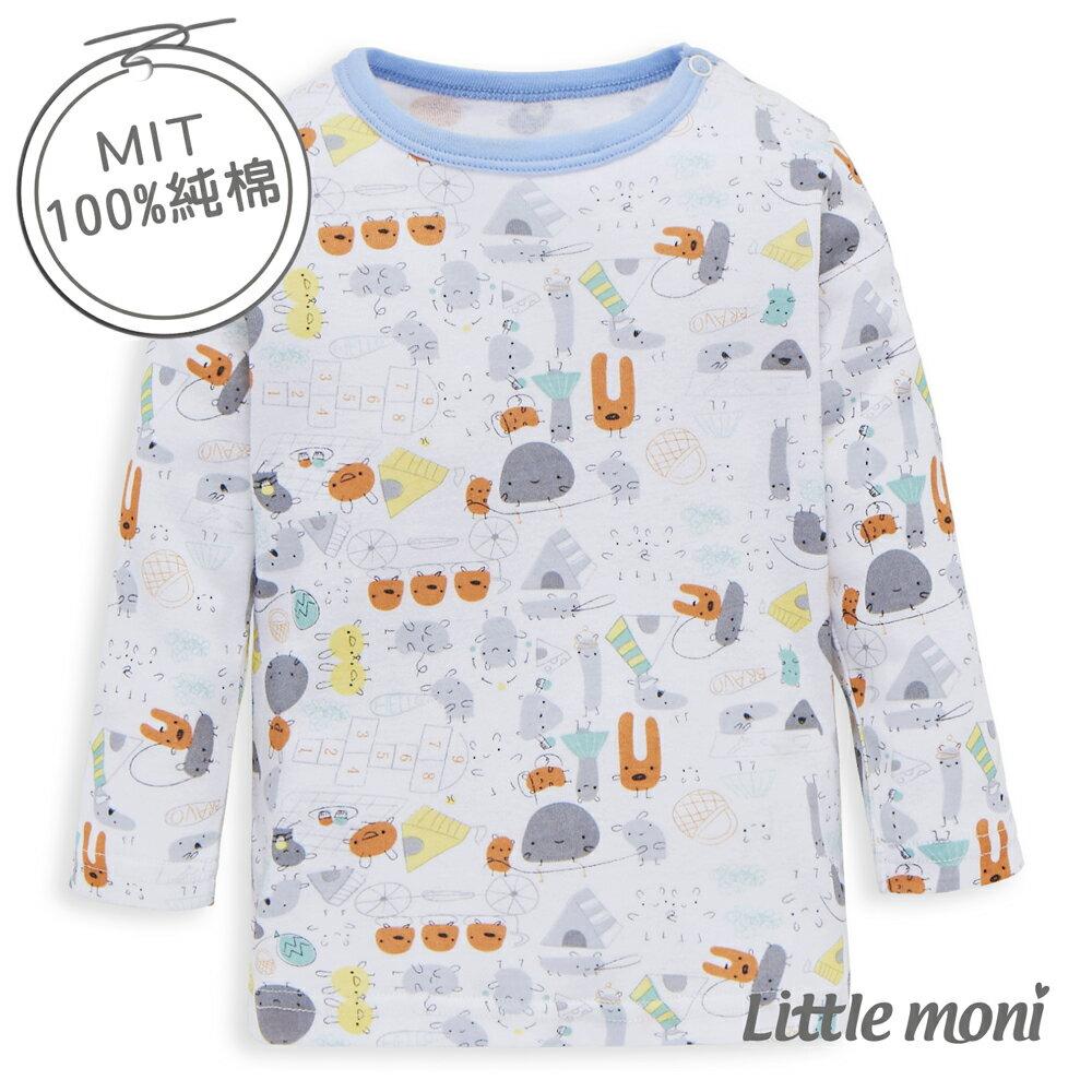 Little moni 純棉家居系列野餐印圖幼兒長袖上衣-灰