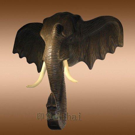 手工木雕 大象頭掛件 裝飾品 木質大象頭掛件