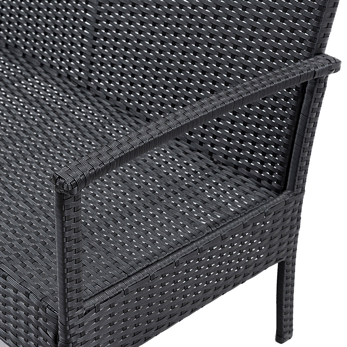 Costway 4 PCS Outdoor Patio Rattan Wicker Furniture Set Table Sofa Cushioned Deck Black 4