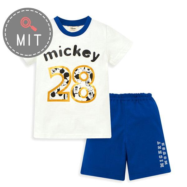 Disney米奇系列俏皮數字上衣短褲套裝-白色
