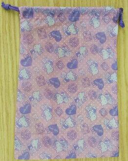 【真愛日本】17111700051 尼龍束口袋-KT愛心紫 三麗鷗 kitty 凱蒂貓 收納包 化妝包