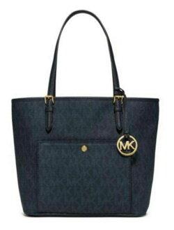 【MICHAEL KORS】正品 MK時尚經典logo防刮pvc皮革肩背托特包深藍色【滿3000領券現折300】