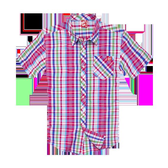 DoctorJ 個性格子短袖襯衫 紅色 (男/女款皆有)