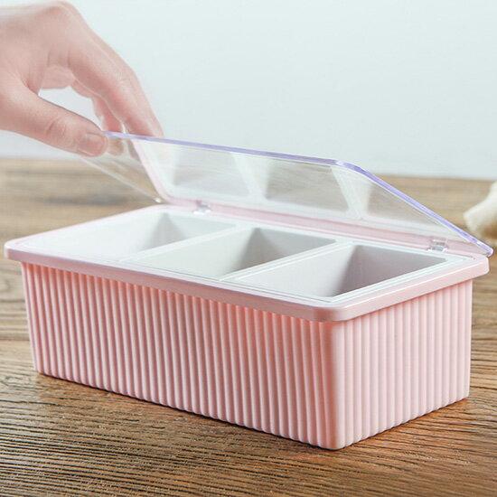 ♚MYCOLOR♚翻蓋式調味盒(三格)附勺廚房套裝多格長方形調料罐鹽巴盒糖盒佐料盒佐料附勺味精料裡【B13-3】