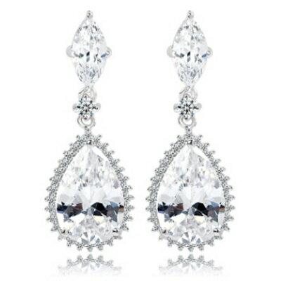 純銀耳環鍍白金鑲鑽耳飾~ 耀眼迷人晚宴情人節生日 女飾品73cr199~ ~~米蘭 ~