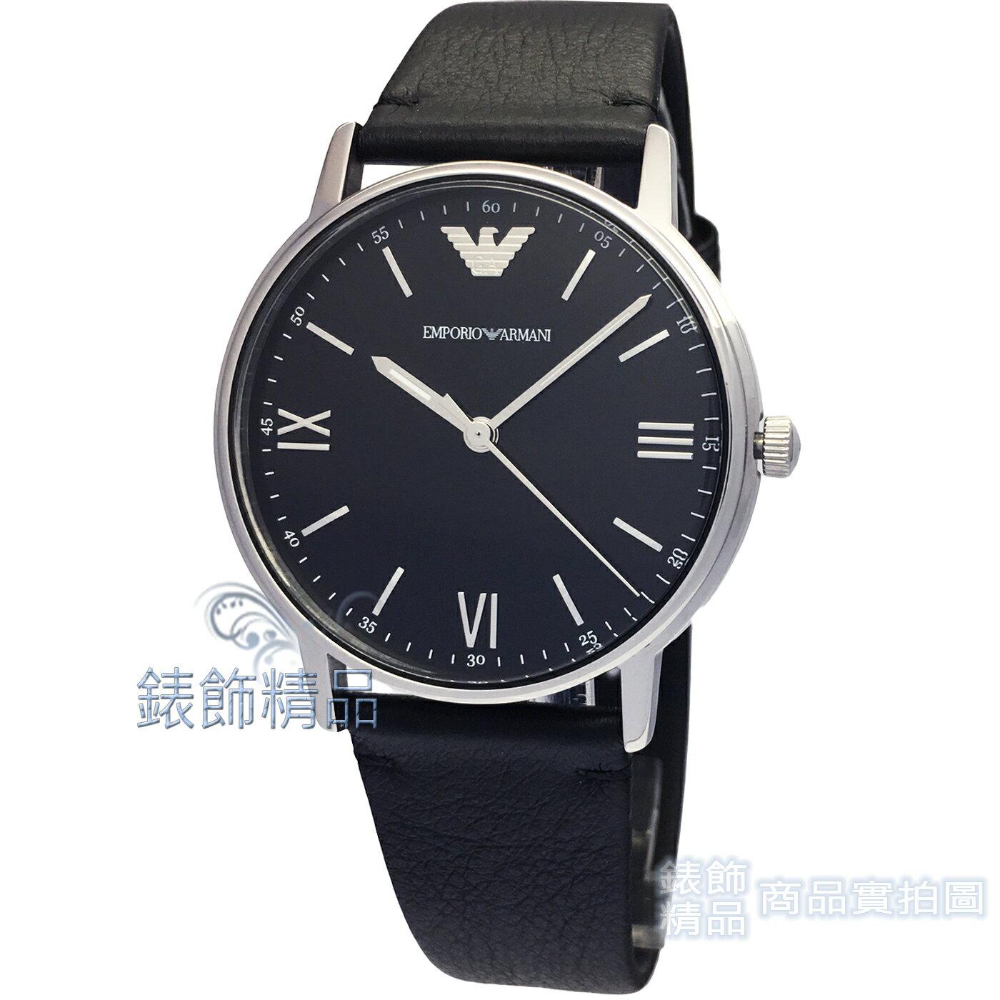 【錶飾精品】ARMANI手錶 亞曼尼表 AR11013 優雅紳士款薄型羅馬時標黑真皮錶帶男錶 全新原廠正品 情人生日禮物