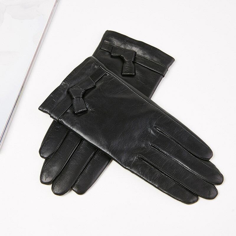 觸控手套真皮手套-山羊皮薄款可愛皮條結女手套73wm66【獨家進口】【米蘭精品】 2