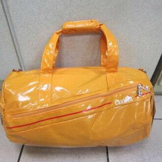 ~雪黛屋~CAUTION 圓筒側背旅行袋 防水鏡面材質 外出旅行萬用包 手提肩背斜側背TB8631黃(大)