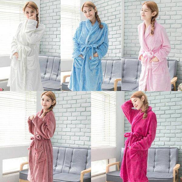 CoFeel精選 舒適法蘭絨綁帶睡袍/浴袍-5色(MA0206)