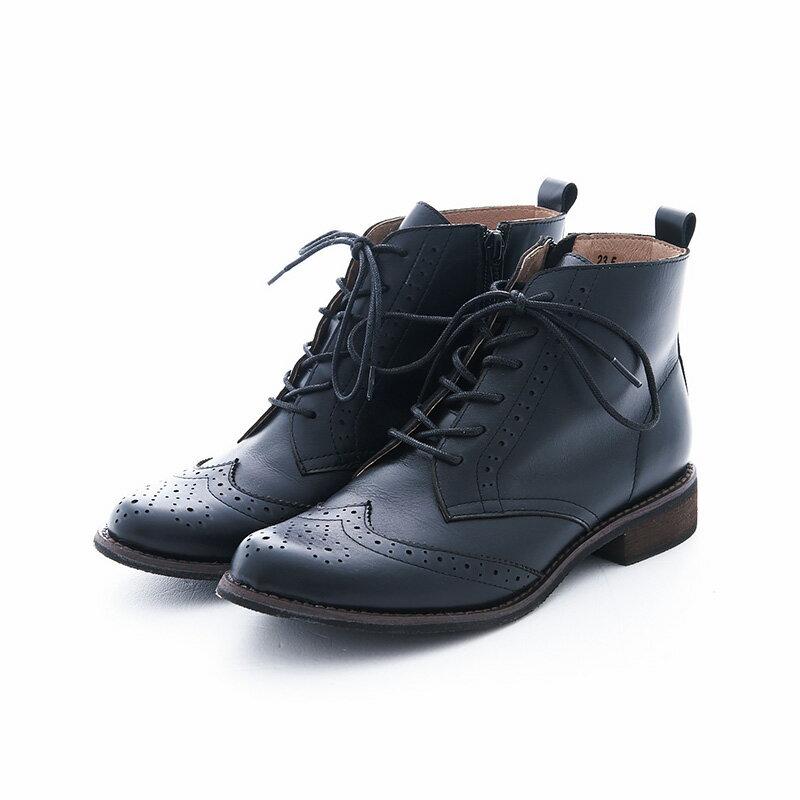 【B2-16819L】真皮綁帶牛津短筒靴_Shoes Party 9