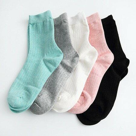 襪子 韓國素色直條中統女襪 [NRS8] 柒彩年代