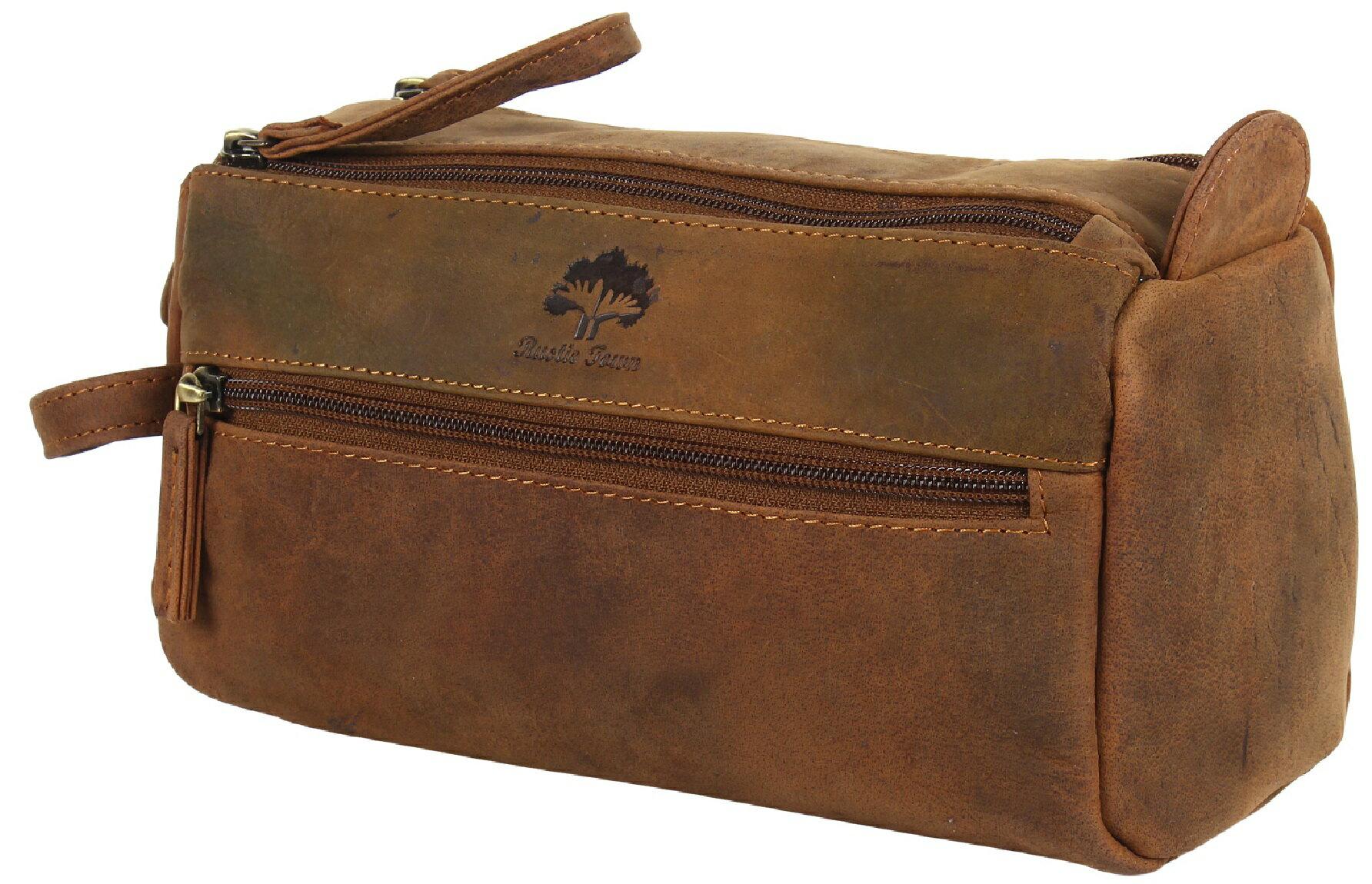 Genuine Leather Travel Toiletry Bag - Hygiene Organizer Dopp Kit By Rustic  Town (Brown) 74f3de5500