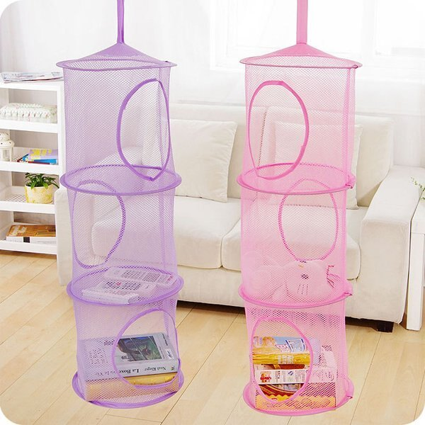 BO雜貨【SV6476】三層收納網 可折疊吊掛式收納網袋 圓柱形玩具玩偶收納 衣櫃掛籃 吊籃 收納籠 雜物分類