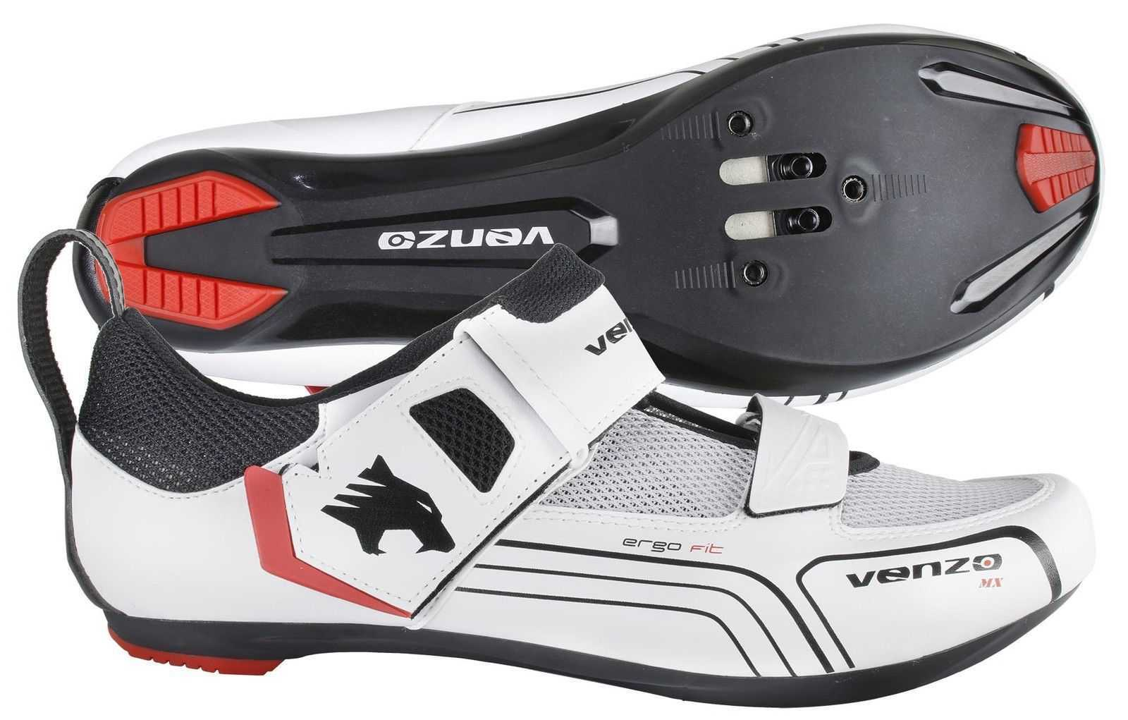 5014b75d635 Venzo Cycling Bicycle Triathlon Road Bike Shoes For Shimano SPD SL Look  White 46 0