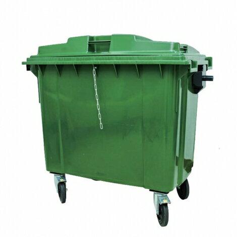 GB-660 四輪回收垃圾托桶 660L (運費另計)垃圾桶 回收桶 歐洲進口 實心橡膠輪 (綠) 環保材質耐衝擊