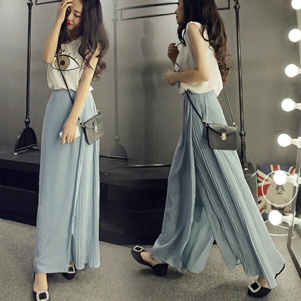 SISI~P6049~超顯瘦優雅飄逸百搭百褶寬管褲不對稱高腰雪紡長裙褲裙 ~  好康折扣