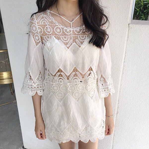 PS Mall 渡假風波浪邊鏤空防曬罩衫上衣 洋裝【T034】 1