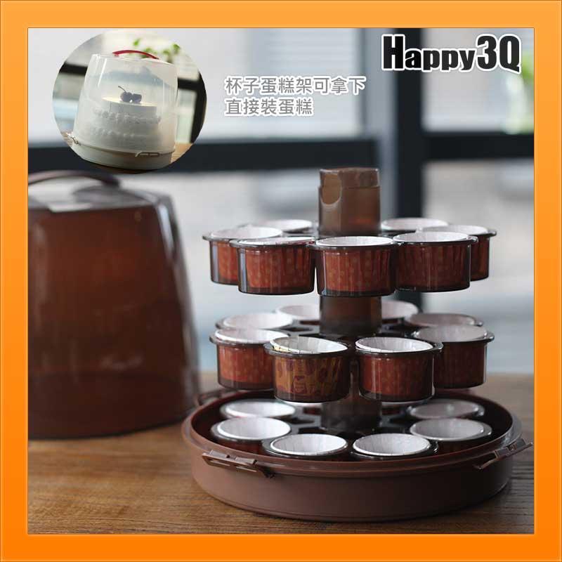 自製DIY杯子蛋糕瑪芬麵包英式小鬆餅隨身攜帶盒8吋外送蛋糕盒展示-白/棕【AAA2443】