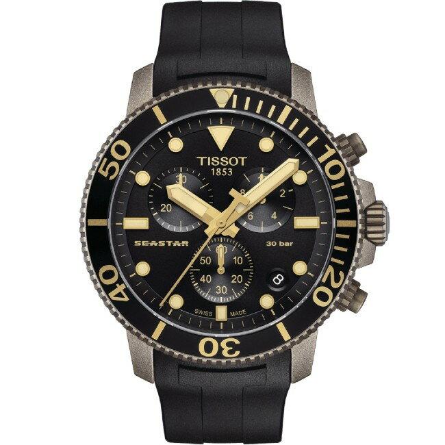TISSOT 天梭表 T1204173705101 SEASTAR 1000 CHRONOGRAPH 海洋之星潛水機械腕錶 / 黑 45.5mm 0