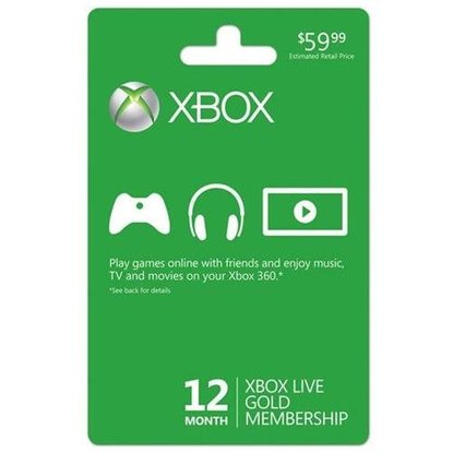 Microsoft Xbox Live 12 Month Gold Subscription