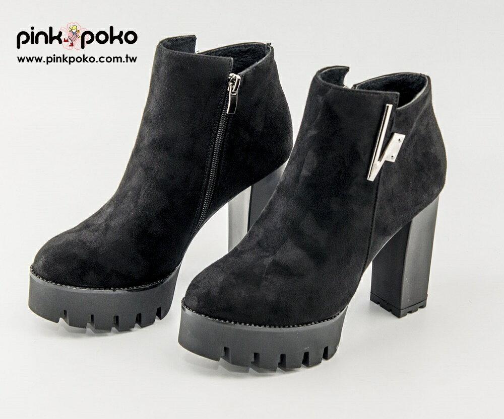 靴子☆PINKPOKO粉紅波可☆側邊拉鏈V字金屬性感高跟踝靴~1色 #1433