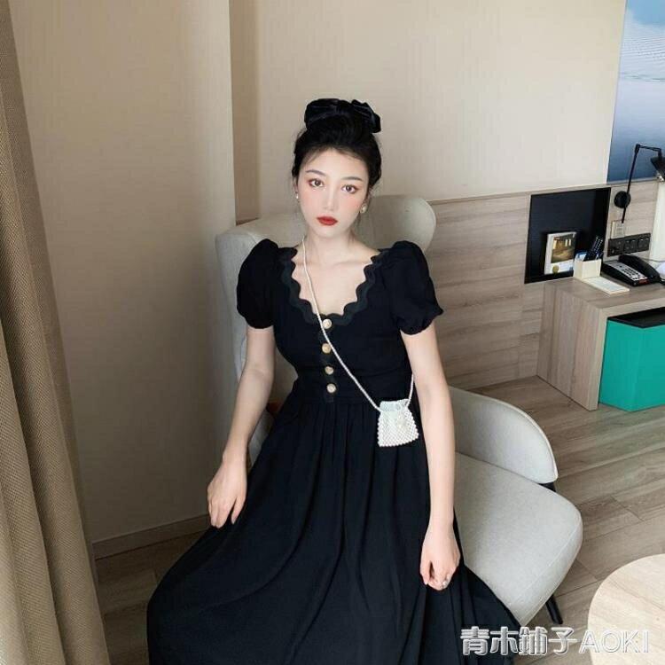 法式小眾復古黑色泡泡袖洋裝女夏季收腰顯瘦氣質小黑裙禮服長裙