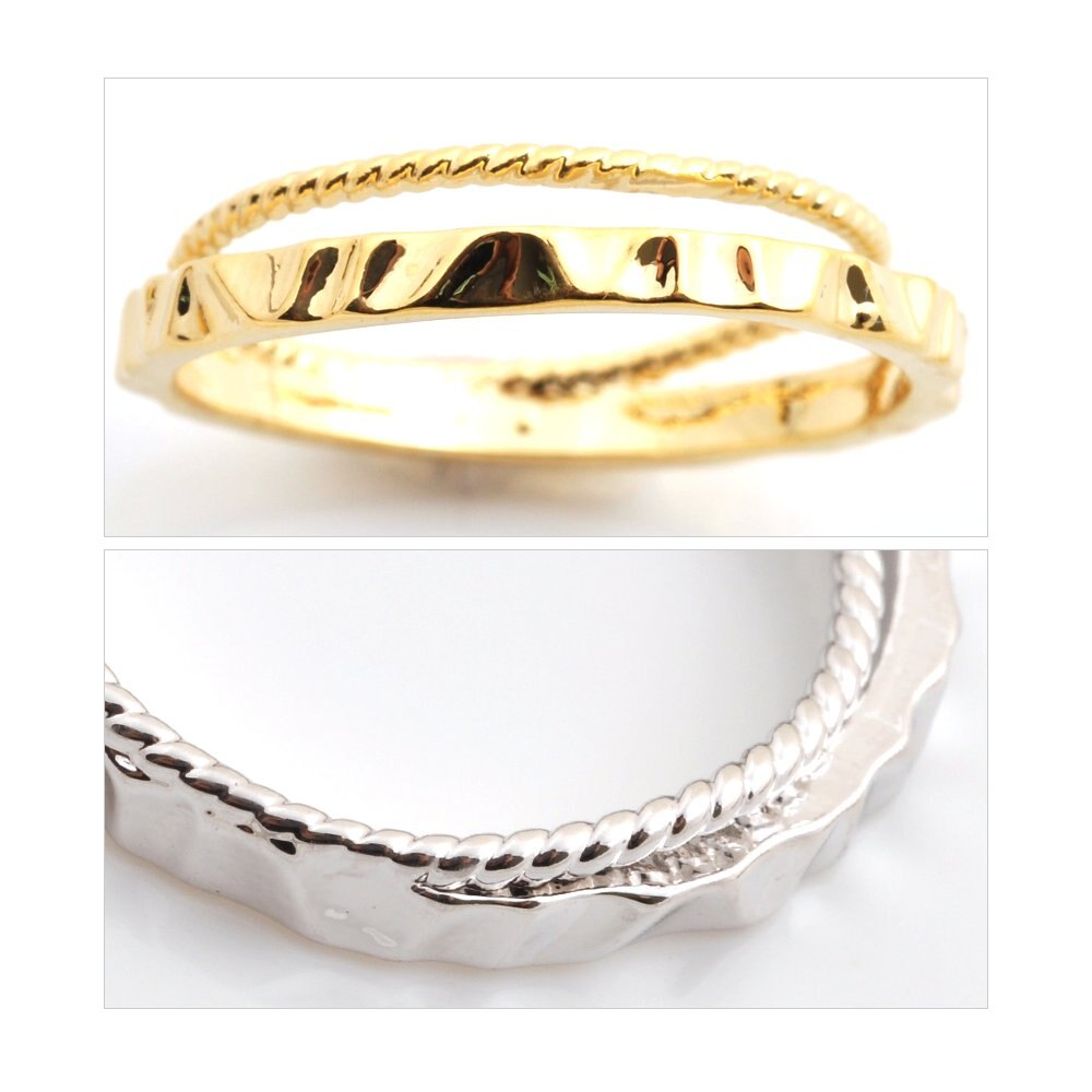 日本CREAM DOT  /  リング 指輪 アクセサリー 11号 2連 デザイン シンプル メタル ゴールド シルバー 重ねづけ 華奢 ひねり オフィス カジュアル プレゼント 小物 ギフト 大人 レディース 女性  /  qc0422  /  日本必買 日本樂天直送(990) 5