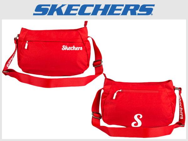Shoestw【S57102】SKECHERS側背包輕量刺繡LOGO紅色多拉鍊層多功能包小側背包