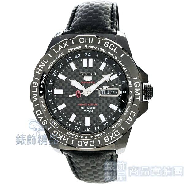 【錶飾精品】SEIKO手錶SRP723K1精工5號手自動機械夜光賽車世界時間鍍黑皮帶男錶
