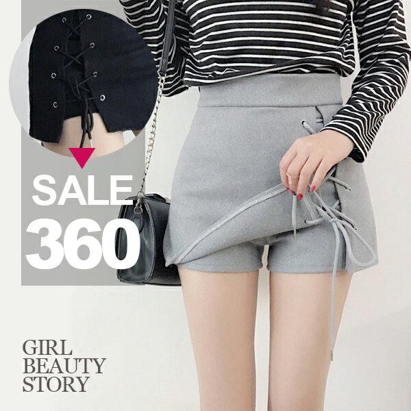 SISI【P8008】清柔俏麗百搭高腰開叉交叉綁帶毛呢半身短裙褲裙