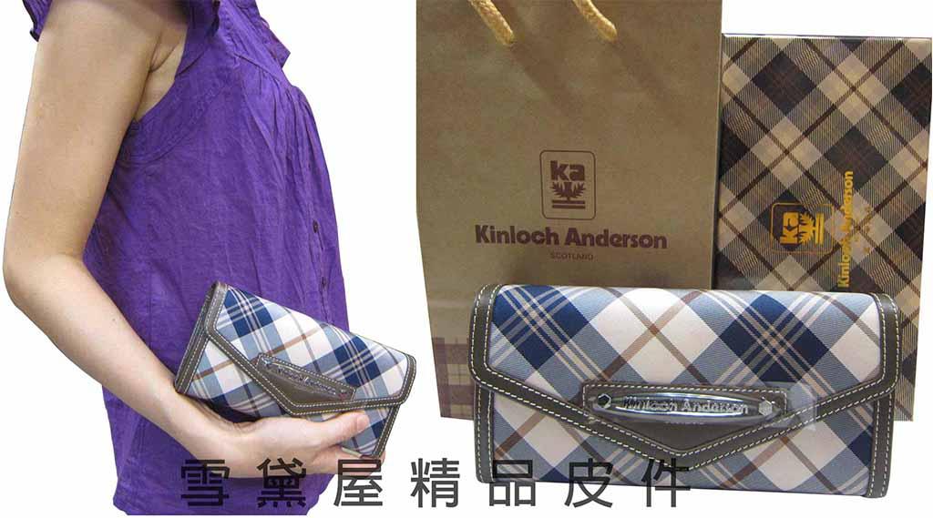 ^~雪黛屋^~Kinloch Anderson英國金安德森格紋長型皮夾緹花布 100^%牛