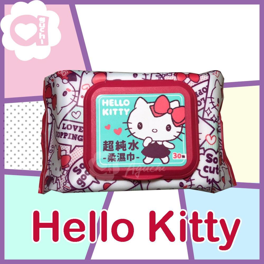Hello Kitty 凱蒂貓 超純水有蓋柔濕巾/濕紙巾 (加蓋) 30 抽 特選柔軟水針布 加蓋設計 水分不蒸發