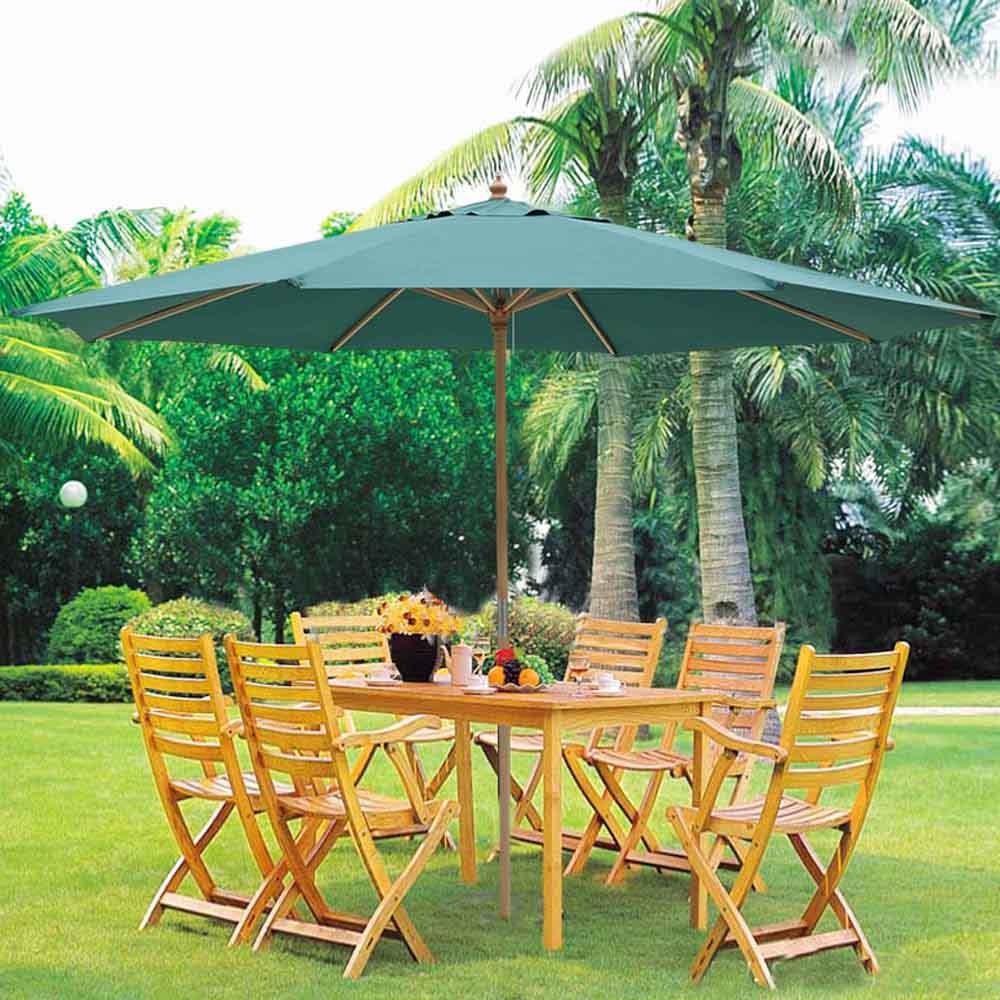 13u0027 XL German Beech Wood Umbrella Patio Outdoor Garden Cafe Beach Pool Yard  Beige/