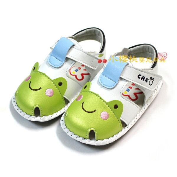 天鵝童鞋ChaChaTwo恰恰兔--青蛙涼鞋學步鞋【白色】台灣製造