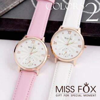 歐美款皮革錶帶夜光防潑水石英錶 MISSFOX JJ1706