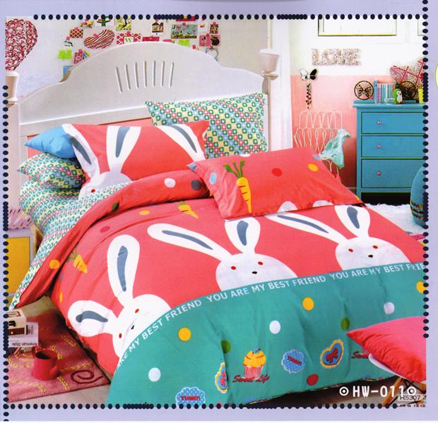✧臺灣製✧舒柔棉磨毛超細纖維床包組《HW-0011》5X6.2尺雙人床包組+兩用被 四件組◤彩虹森林◥
