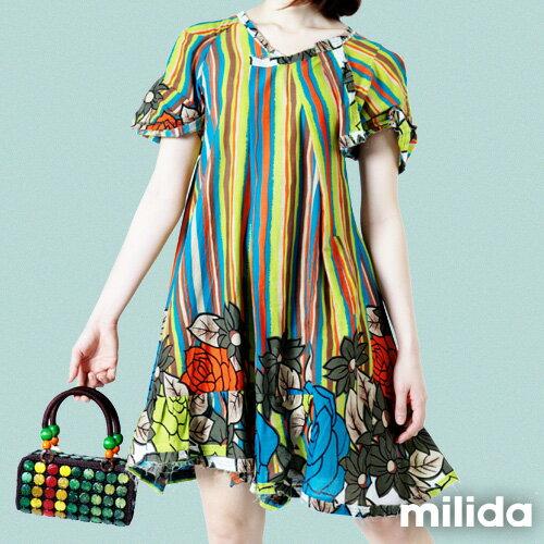 【Milida,全店七折免運】-印花系列-澎袖裙襬洋裝 2