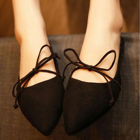 拖鞋 隨興蝴蝶結綁帶尖頭懶人鞋【S1579】☆雙兒網☆ 0