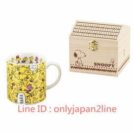 【真愛日本】17022000004馬克杯附屋型木製收納盒-塔克滿版黃    史努比 SNOOPY 杯子 馬克杯 陶瓷