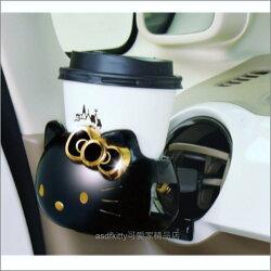asdfkitty可愛家☆KITTY黑金色汽車用杯架/手機座/飲料架-日本正版商品