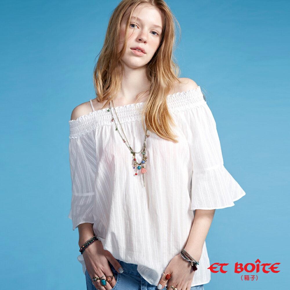 【春夏新品】一字領條紋喇叭袖襯衫(白) - BLUE WAY  ET BOiTE 箱子 - 限時優惠好康折扣