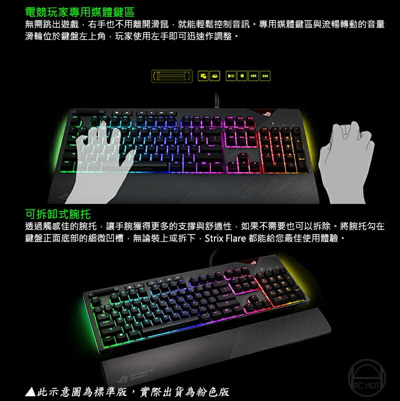 [春節促銷] ASUS 華碩 ROG STRIX FLARE PNK 機械式鍵盤 電競鍵盤 粉紅限量版 青軸 茶軸 4