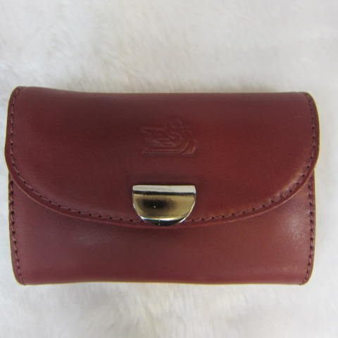 ~雪黛屋~ITALI DUCK 零錢包 100%進口牛皮小型化妝包萬用包名片夾 暗口型蓋式主袋口#1601 紅