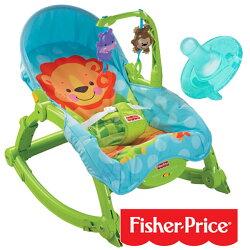 【奇買親子購物網】費雪牌 Fisher-Price 可愛動物可攜式兩用安撫躺椅+飛利浦 PHILIPS 4號 奶嘴