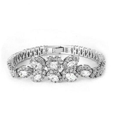 ~純銀手鍊 鍍白金鑲鑽手環~華麗獨特愛之奢戀七夕情人節 女飾品73cv17~ ~~米蘭 ~