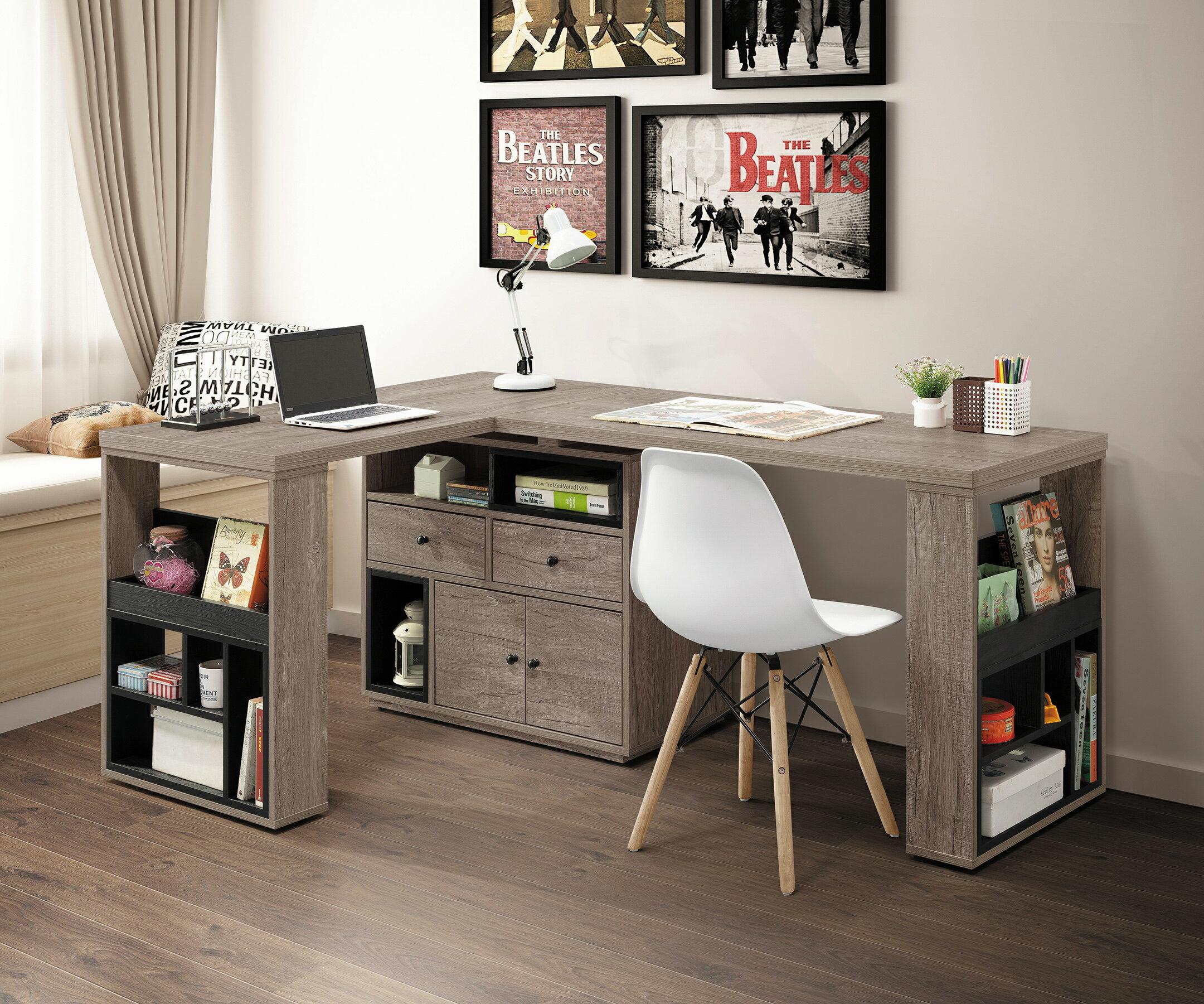 【簡單家具】,H470-02 艾爾頓5.3尺L型功能桌組,大台北都會區免運費