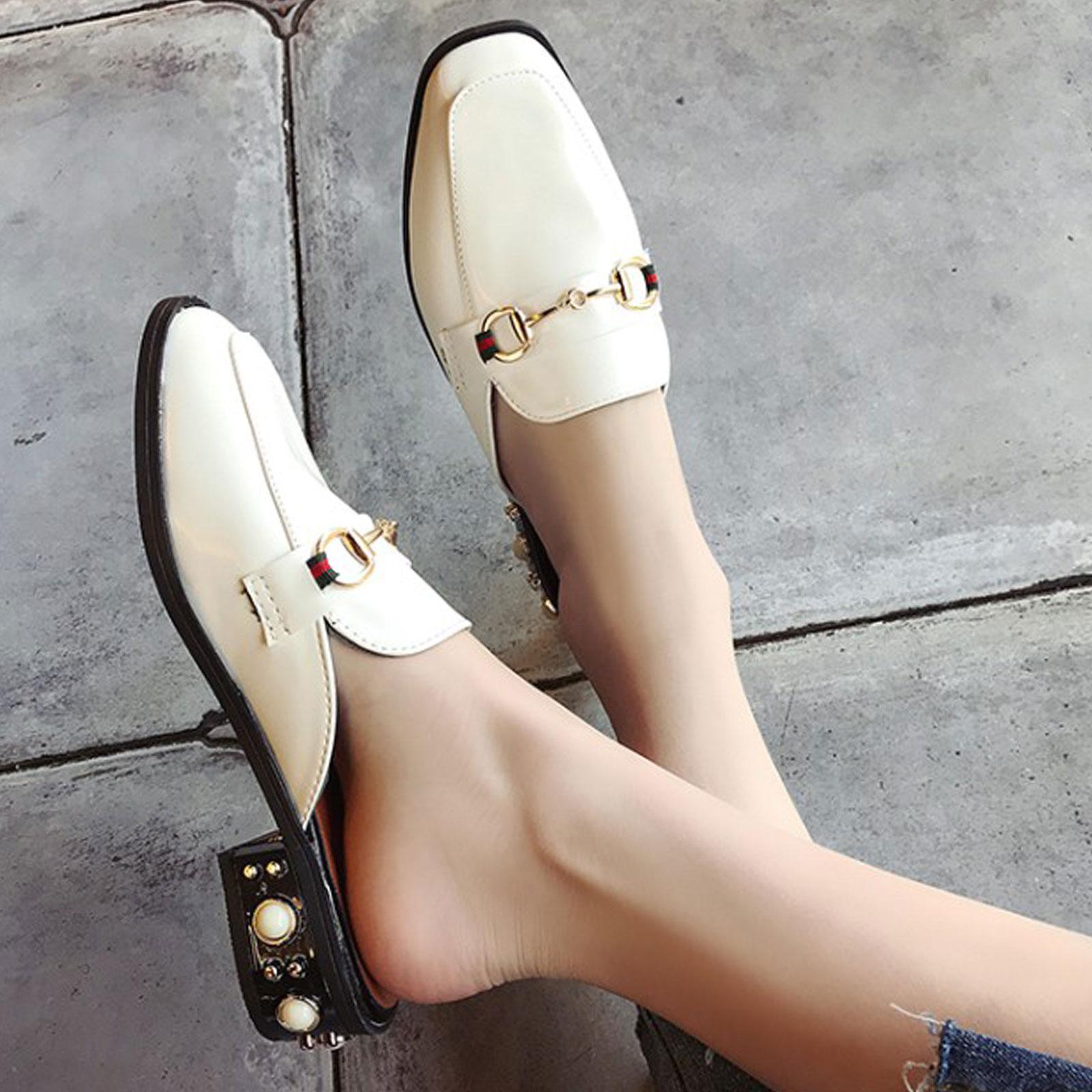 懶人鞋 淺口珍珠裝飾方頭粗跟半拖鞋【S1693】☆雙兒網☆ 0