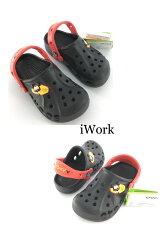 【iWork】10007 《CROCS》夏季米奇海灘度假風二用拖鞋/涼鞋  ,質感舒服、寬頭透氣肉腳超適合,顏色黑色[夏日海灘、辣妹、舒適、休閒、可愛]