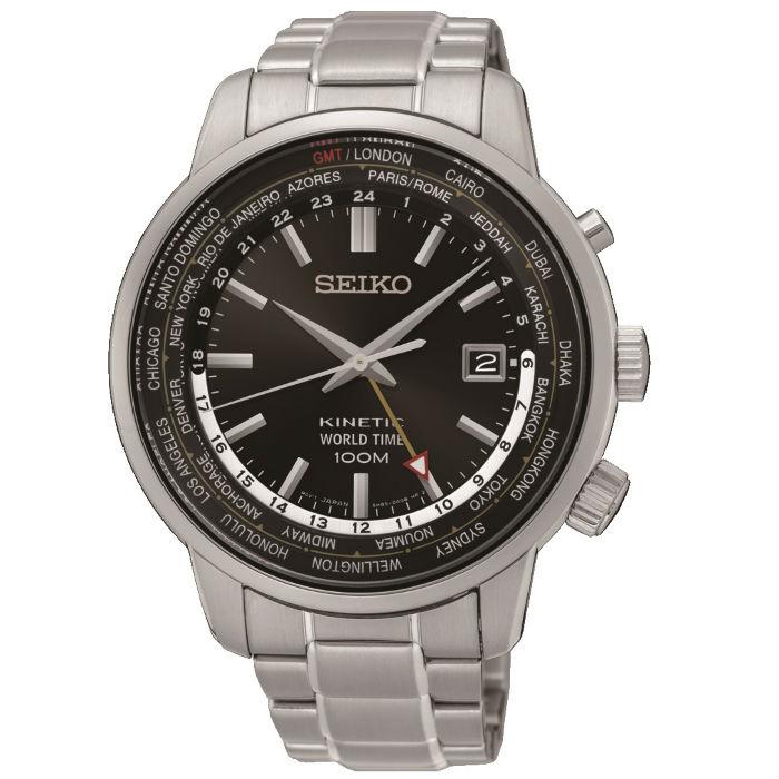 Seiko CS系列 5M85-0AF0D(SUN069P1) 人動電能GMT經典腕錶/黑面43.6mm