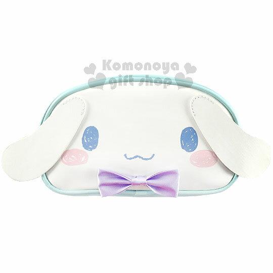 〔小禮堂〕大耳狗 皮質造型拉鍊筆袋《藍.大臉.紫蝴蝶結》15週年紀念系列